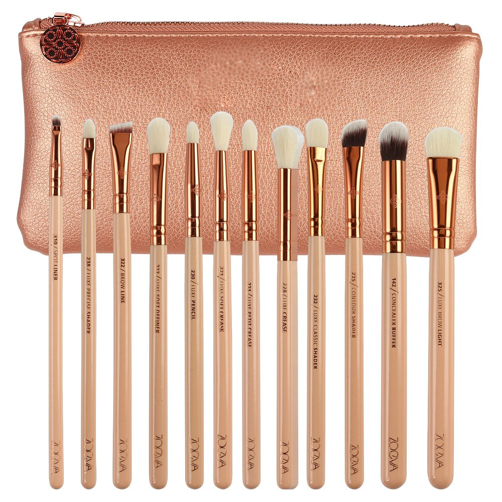 Zoe Complete Face And Eye Makeup Brush Set With Case 8/12 / 15 Piece Brushes (12PC with Package PINK)