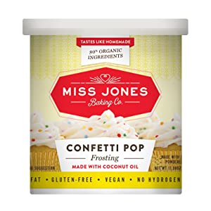 Miss Jones Baking 90% Organic Birthday Buttercream Frosting, Perfect for Icing and Decorating, Vegan-Friendly: Confetti Pop (Pack of 3)