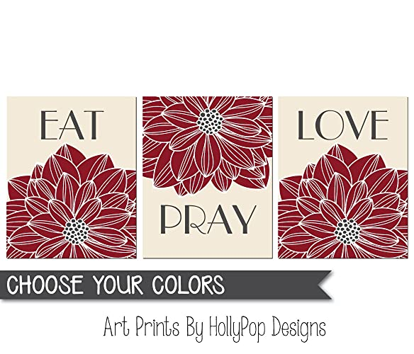 Eat Pray Love Wall Art, Dining Room Wall Decor, Kitchen Art Print Set,