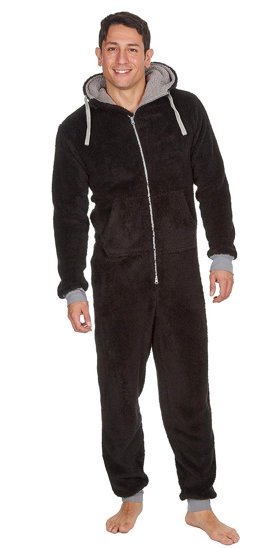 Mens Luxury Fleece Onesie Hooded Zipped All in One Pyjamas Jumpsuit