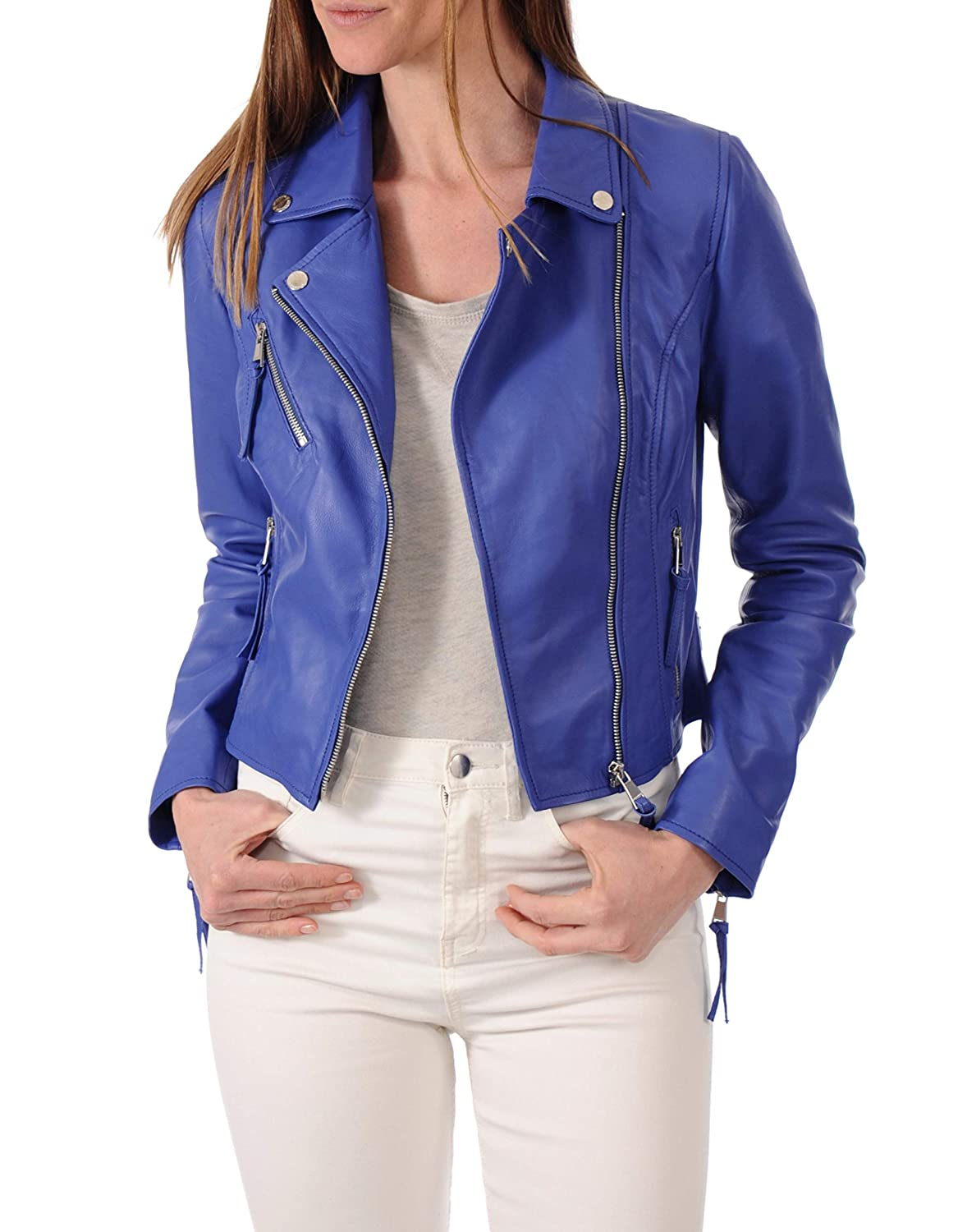 bluee111fc DOLLY LAMB 100% Leather Jacket for Women  Slim Fit & Quilted  Moto, Bomber, Biker Winter Casual Wear