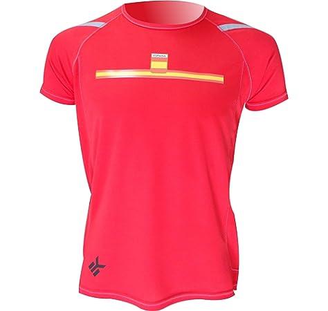 Camiseta Deportiva Manga Corta EKEKO Marathon, Camiseta Hombre Fabricada en Poliester microperforado, Running, Fitness y Deportes en General. (S, ESPAÑA ROJA): Amazon.es: Deportes y aire libre