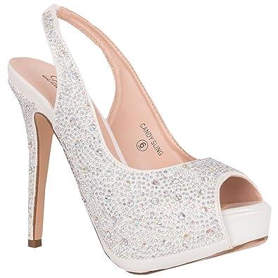 2ae7f15163 Lauren Lorraine Candy White Open Toe Platform Rinestone Crystal Slingback  Cinderella Bridal Pump (5.5)