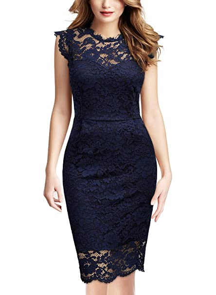 74e5e9133da18 Miusol Women's Retro Floral Lace Slim Evening Cocktail Mini Dress