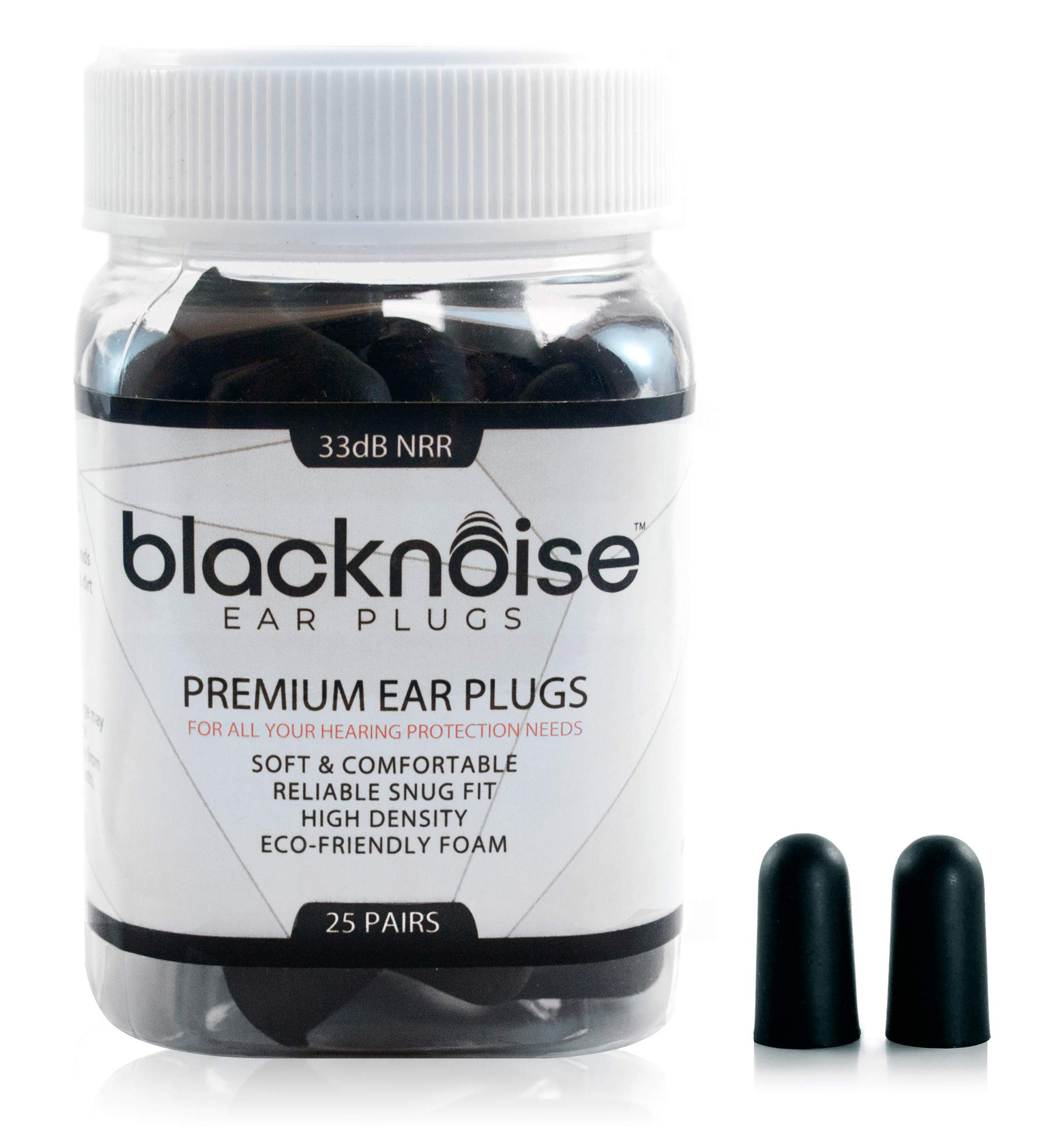 Black Noise Premium Ear Plugs | 33db NRR Noise Cancelling, Soft and Durable Ear Plugs for Concerts, Sleeping, Musicians, Motorcycles, Shooting, Loud Work Environments, Loud Sports, Travel and Study