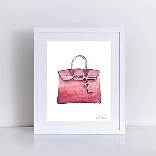 26f95c3932f5 Hermes Birkin Bag Art Print Watercolor Painting Wall Home Decor Mauve Pink  Handbag Fashion Illustration Fashion Art Classic Preppy Pretty Gift for Her  ...