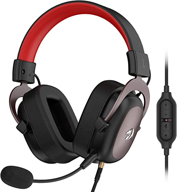 Redragon H510 Zeus Wired Gaming Headset - 7.1 Surround Sound - Memory Foam Ear Pads - 53MM Drivers - Detachable Microphone - Multi Platform Headphone - Works with PC/PS4 & Xbox One