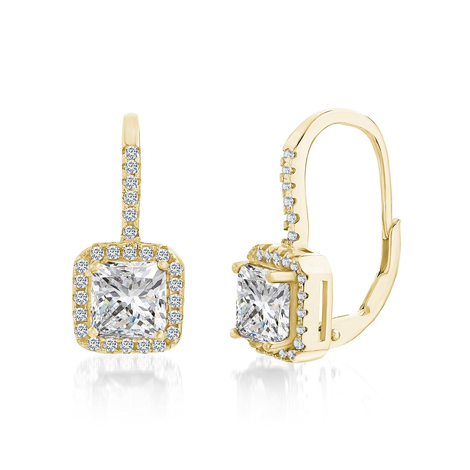 Lesa Michele Womens Princess Cut Cubic Zirconia Halo Style Lever Back Earrings in Yellow Gold over Sterling Silver