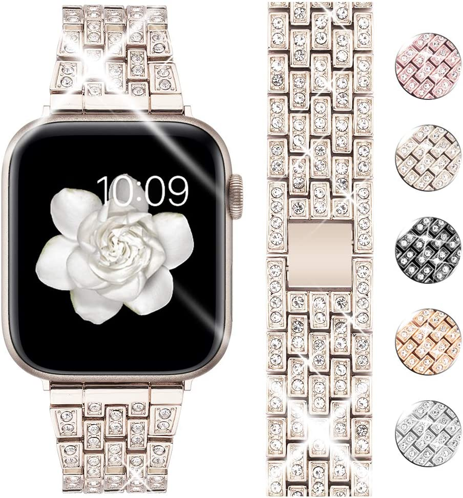 Goton Bling Band Compatible for Apple Watch Band 40mm 38mm, Women Luxury Diamond Bling Crystal Stainless Metal Replacement Strap for iWatch Band Series 6 5 4 3 2 1(Champagne Gold-40mm 38mm)