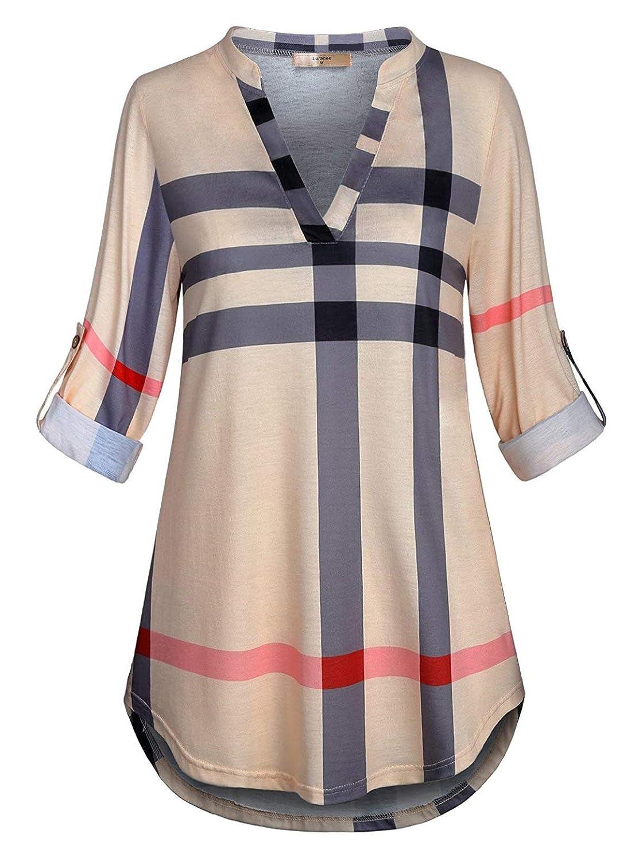 Luranee Women 3/4 Roll Sleeve Shirts Notch V Neck Flowy Plaid Tunic Blouses