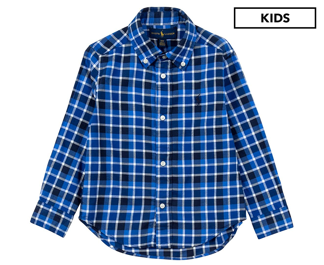 Size 4//4T Ralph Lauren Boys Twill Shirt Blue Multi