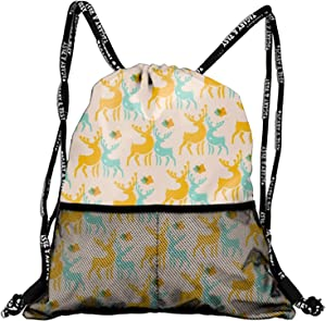 Deer Pattern Drawstring Backpacks Cheap for Kids Party Favors Bags Gym Drawstring Bags