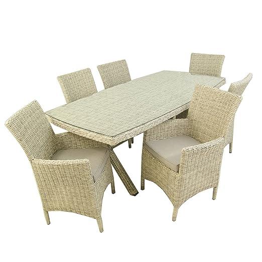 Conjunto Muebles jardín, Mesa 200x100 cm y 6 sillones, Aluminio y ...