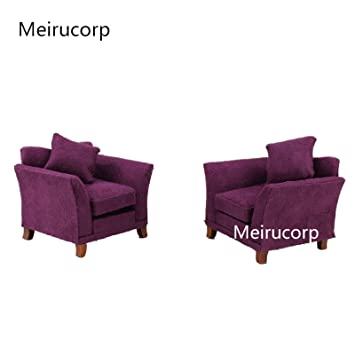 Merveilleux 1/12 Scale Dollhouse Miniature Furniture Wood Purple Armchair 2pcs