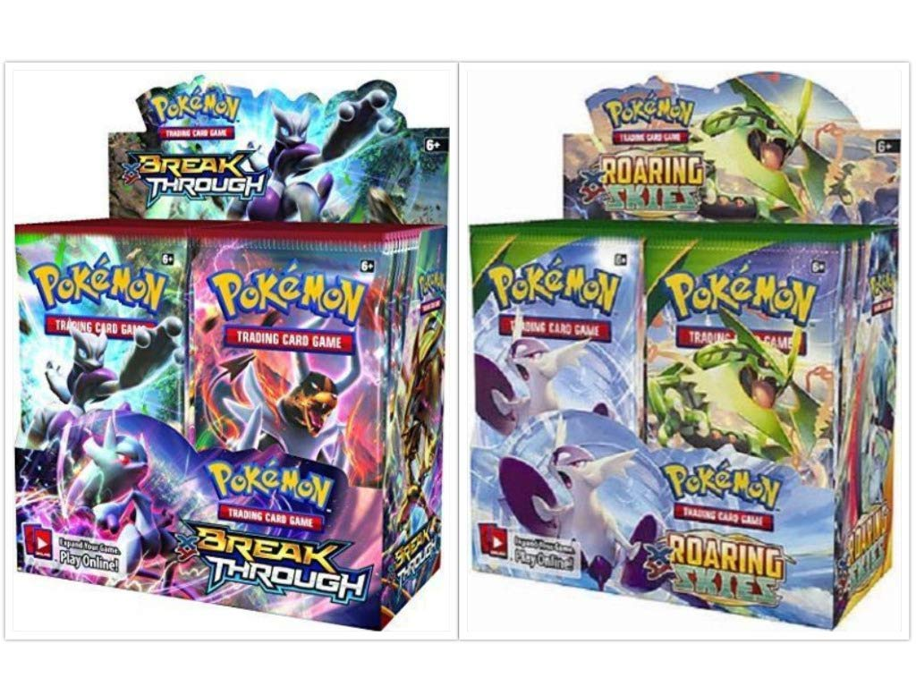 Pokémon XY Breakthrough Booster Box + XY Roaring Skies Booster Box Pokémon Trading Cards Game Bundle, 1 of Each