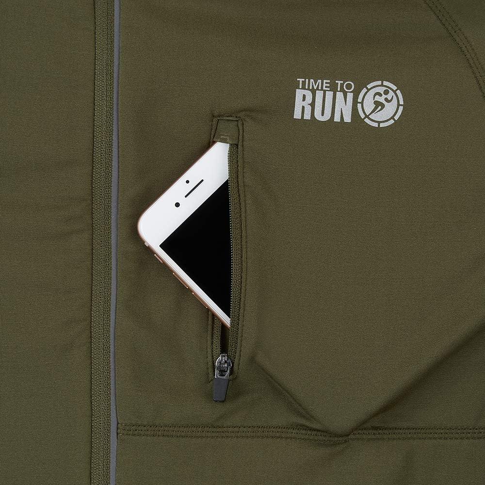 Time To Run Para Hombre Camiseta T/érmica De Running para Invierno De Manga Larga y Cremallera En El Cuello