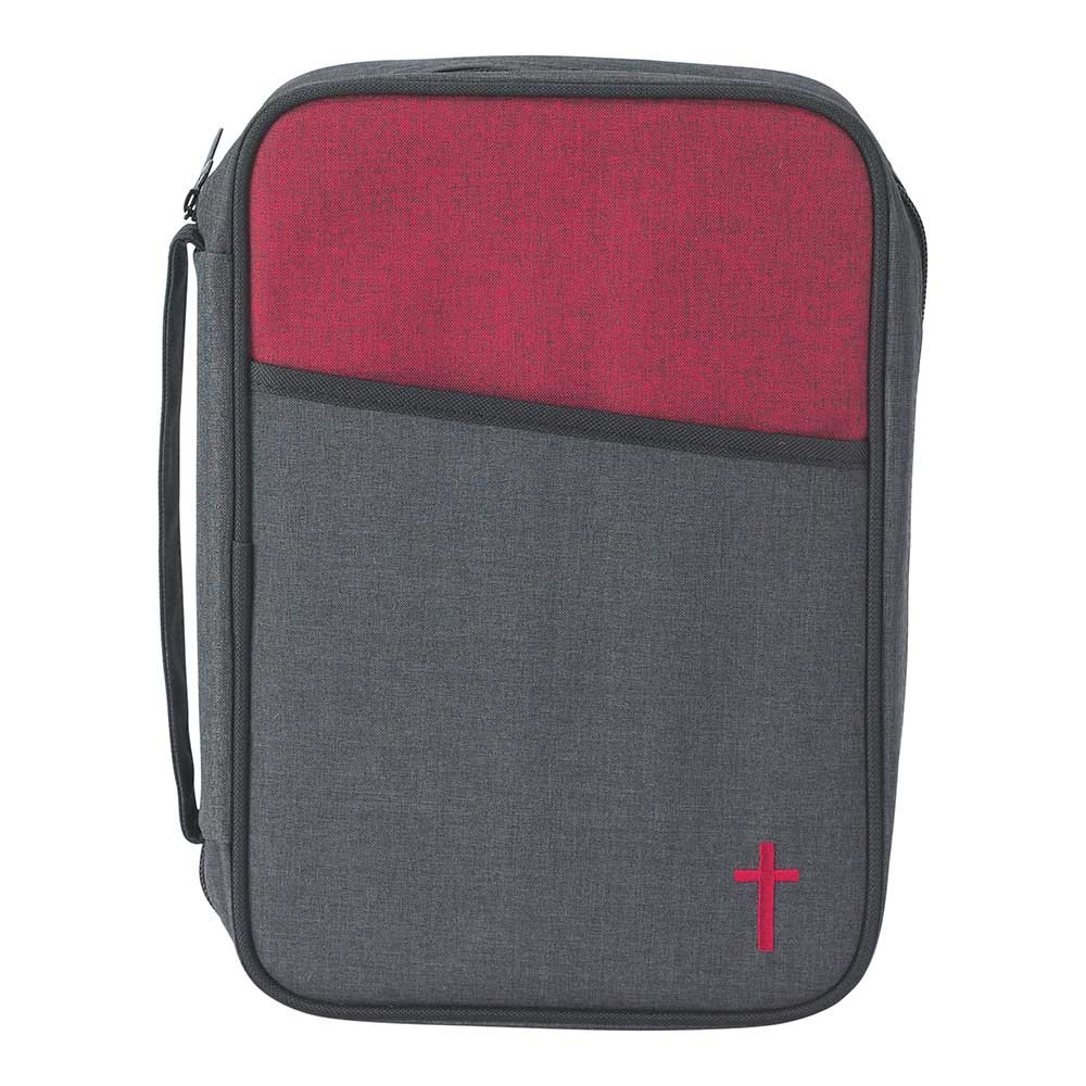 Gray and Red 7.6 x 10 inch Reinforced Polyester Bible Cover Case with Handle Dicksons
