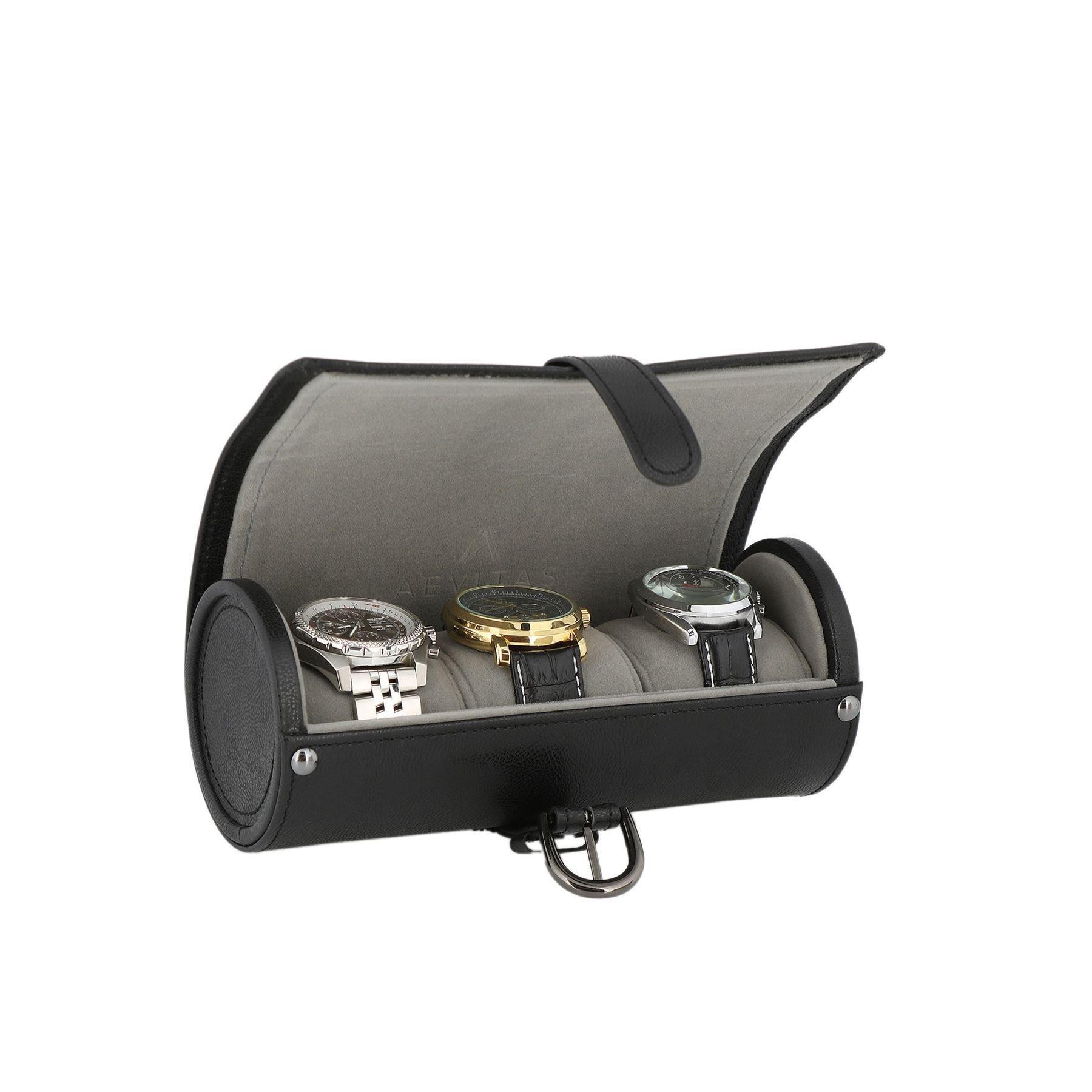 Genuine Black Leather Watch Travel Roll 3 Watches Platinum Velvet Lining by Aevitas