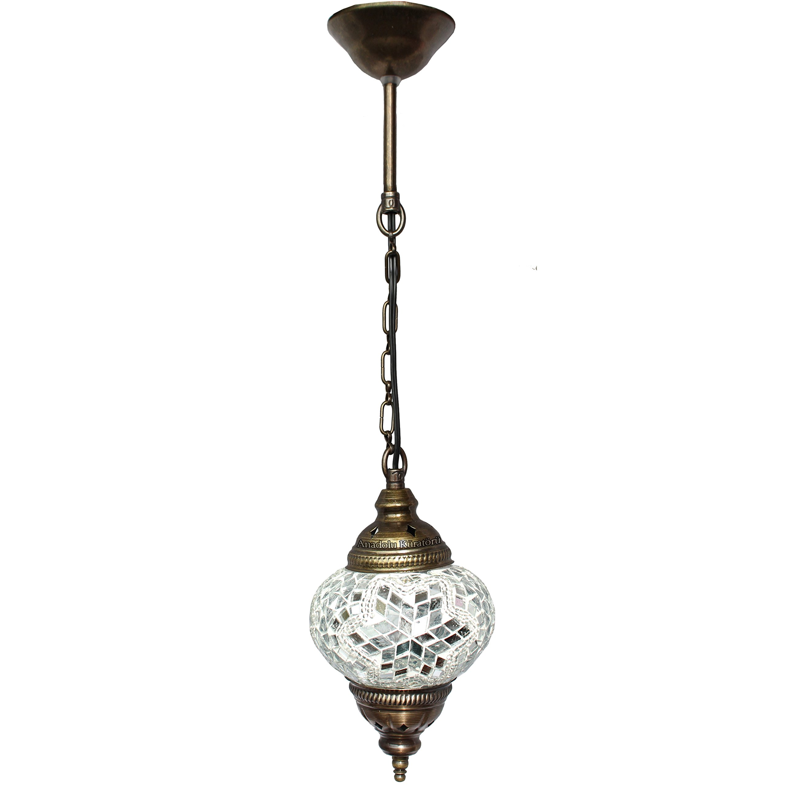 Ceiling Pendant Fixtures, Mosaic Lamps, Turkish Lamps, Hanging Lights, Moroccan Lanterns, Color Glass, Size 2, White, Arabian Nights by Leyla's Lanterns