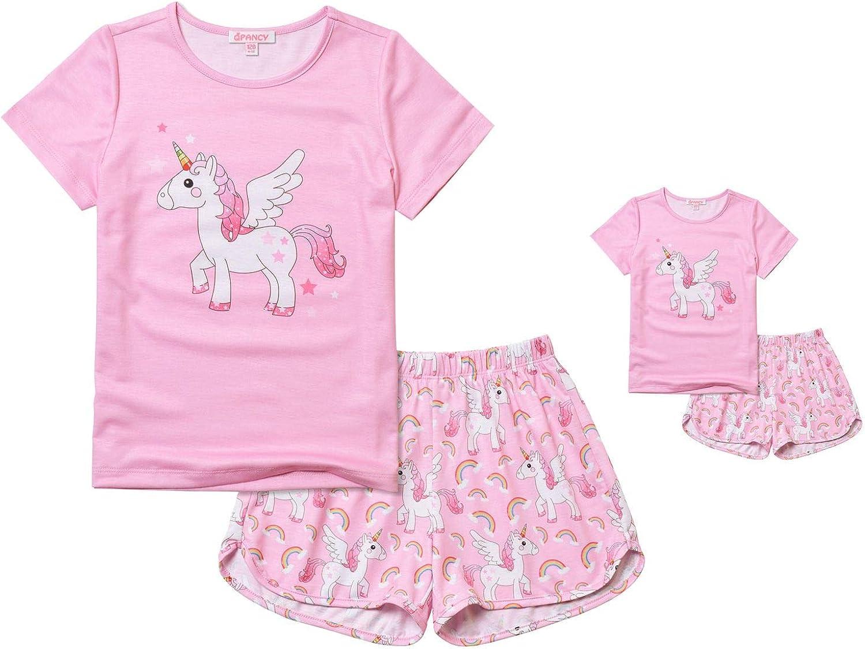 Qpancy Matching Girls & Dolls Pajamas Unicorn Pj Sets Summer Cotton Sleepwear