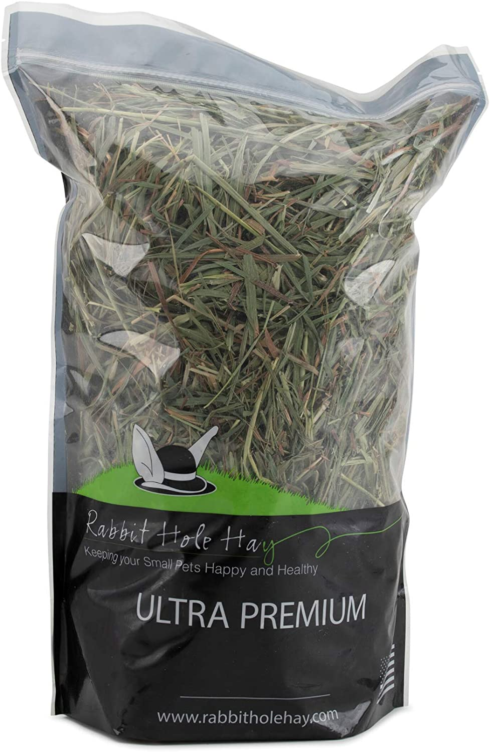 Rabbit Hole Hay Ultra Premium, Hand Packed Soft Timothy Hay for Your Small Pet Rabbit, Chinchilla, or Guinea Pig (24oz)