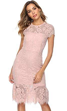 6c6c5d85b95ba Lamilus Women's Lace Dresses for Cocktail Wedding Party Elegant Scoop Neck Short  Sleeves Summer Bodycon Casual
