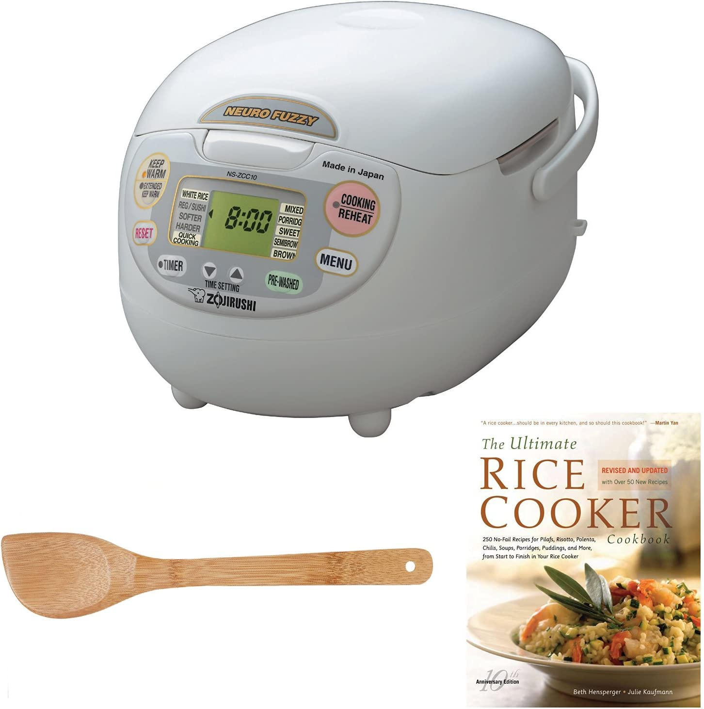Zojirushi NS-ZCC10 Neuro Fuzzy Rice Cooker & Warmer (1.0 Liter) Bundle with Wooden Tool Set and Cookbook