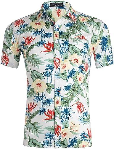 Sulifor Camisa Floral de Unisex de Verano, Camisa Casual para Hombre 3D Color de impresión, Camisa Hawaiana para Hombre, Camisas Verano Primavera T-Shirt Oficina: Amazon.es: Ropa y accesorios