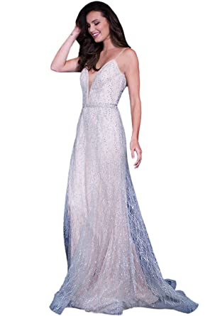 Jovani Prom 2018 Dress Evening Gown Authentic 56050 Long Silver/Nude