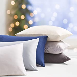 500-Thread-Count Ivory Sateen Pillow Cases - 100% Natural Cotton 2 Piece King Size Pillowcase Set, Extra Soft Fade Resistant Comfortable Pillow Cover