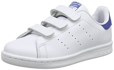 c8ac062d5b7305 adidas Originals Boy s Stan Smith Cf C Ftwwht Ftwwht Eqtblu Leather Sneakers  - 12