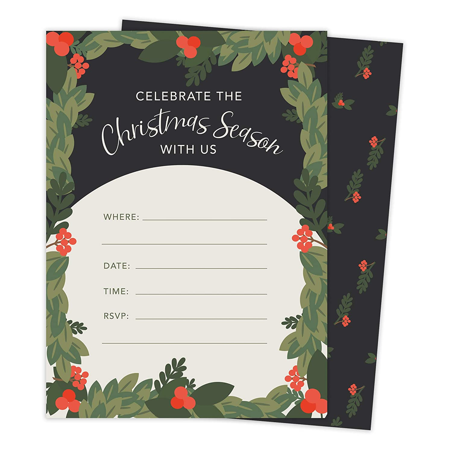 Christmas #2 Holiday Season Party Gathering Invitations Invite Cards 25 Count With Envelopes Seal Stickers Vinyl Party
