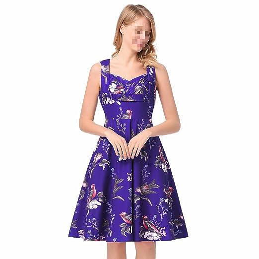 EALSN Vestido Retro Del Partido Del Oscilación Del Cóctel Del Vintage Del V-cuello Retro De Los Años 50 De Las Mujeres,Purple-S: Amazon.es: Hogar