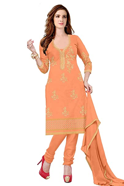 05b62db77 Udaan Women s Chanderi Embroidered Top with Nazneen Dupatta and Cotton  Bottom Unstitched Salwar Suit Material - SNK02 - Orange - Free Size   Amazon.in  ...