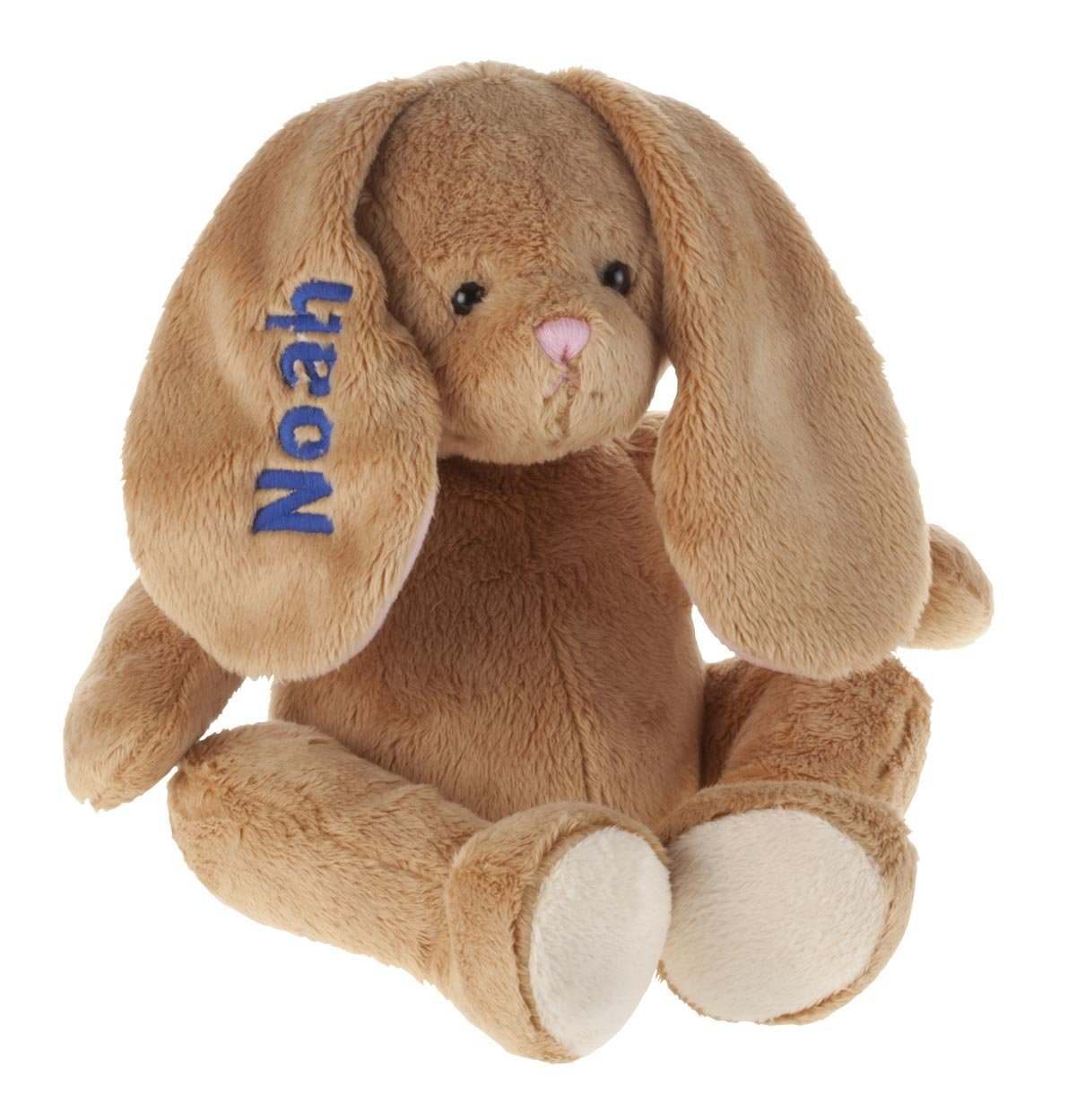 Miles Kimball Personalized Brown Plush Bunny -Customized Stuffed Animal Children Easter Gift - Embroidered Floppy Ear Bunny with Child Name in Blue Font by Miles Kimball