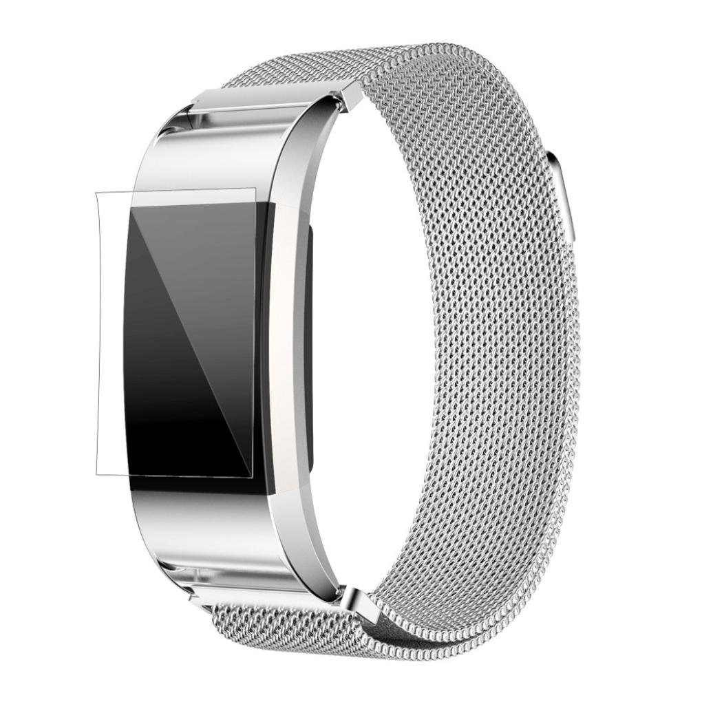 Watch, Topunder Milanese Stainless Steel Watch Band Strap Bracelet + HD Film for Fitbit Charge 2 SL