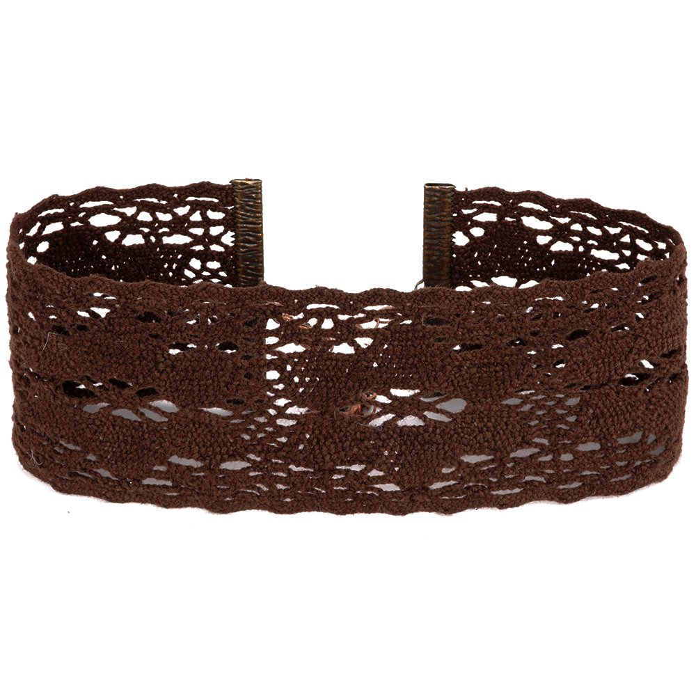 Twilight's Fancy Wide Floral Cluny Lace Choker Necklace (Brown, Large)