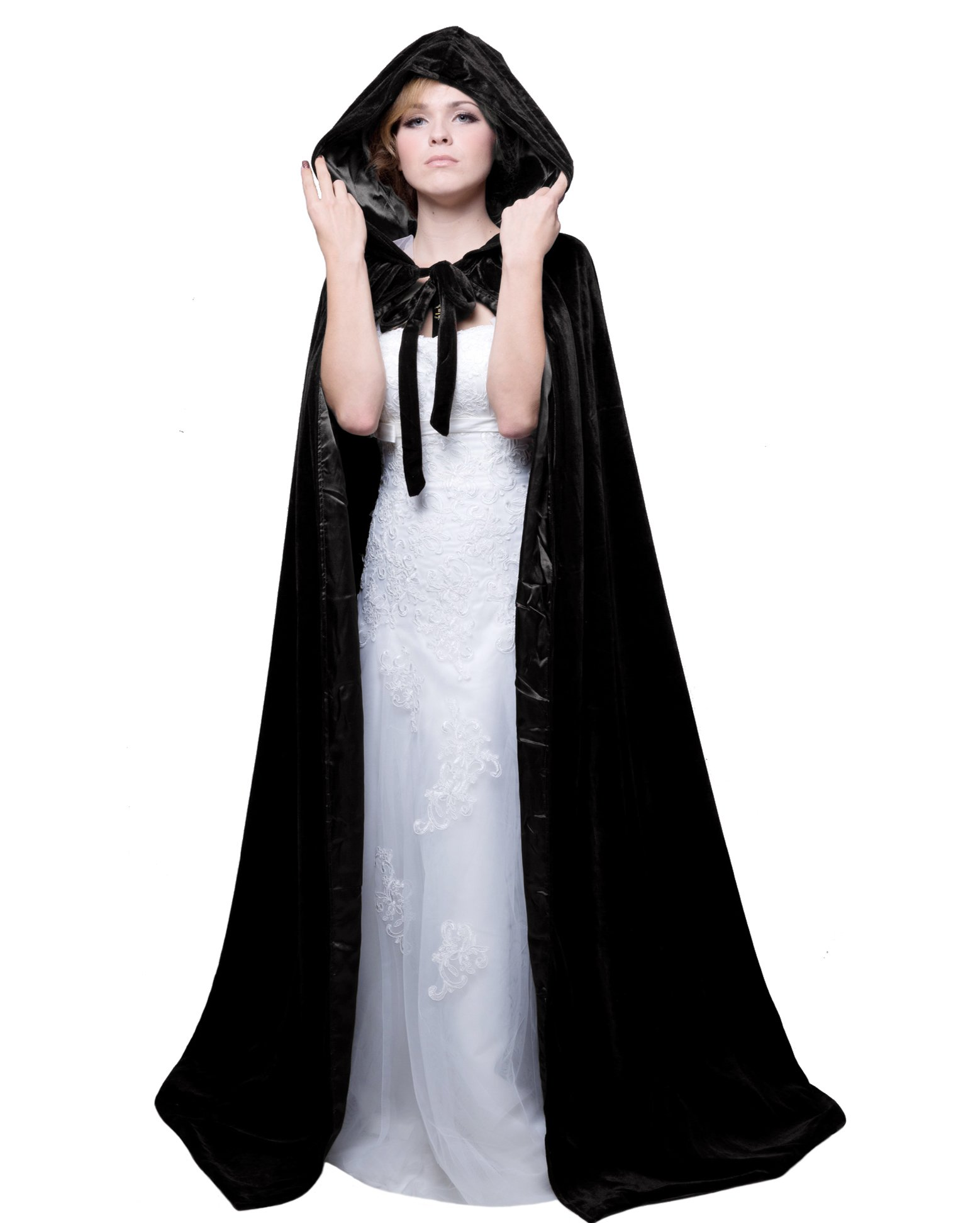 HSDREAM Unisex Hooded Wedding Cape Cloak lined with Satin For Halloween Costume (Black, B)