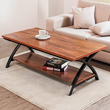 Coffee Table, Tribesigns 48u0027u0027 Large Cocktail Table With Lower Storage Open  Shelf And