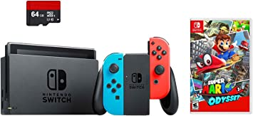 Nintendo Switch 3 items Bundle:Nintendo Switch 32GB Consola Neon Rojo y Azul Joy-con,64GB tarjeta de memoria Micro SD y Super Mario Odyssey Game Disc: Amazon.es: Electrónica