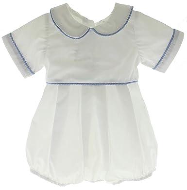 e16006598 Amazon.com  Hiccups Childrens Boutique Boys White Romper Blue ...