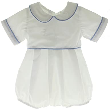 369296d61e84 Amazon.com  Hiccups Childrens Boutique Boys White Romper Blue ...