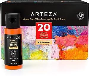 Arteza Craft Acrylic Paint, Set of 20 Vintage Tones, 2.02-oz/60 ml Bottles, Water-Based, Matte Finish, Matte Acrylic Paint Set for Art & DIY Projects on Glass, Wood, Ceramics, Fabrics, Paper & Canvas