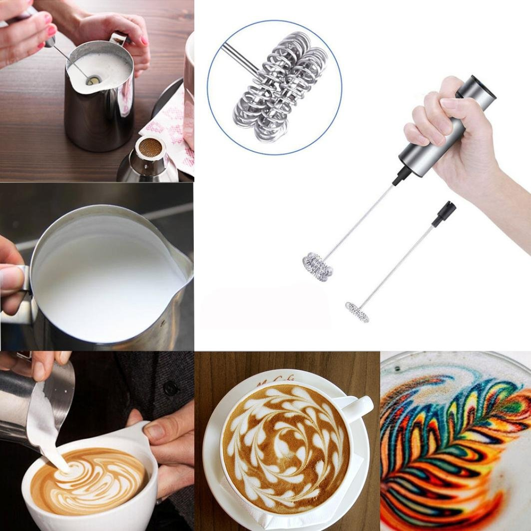 Bomdes Milk Frother Handheld Double Spring Whisk Head Powerful Electric Spring Milk Frother Hao Tech