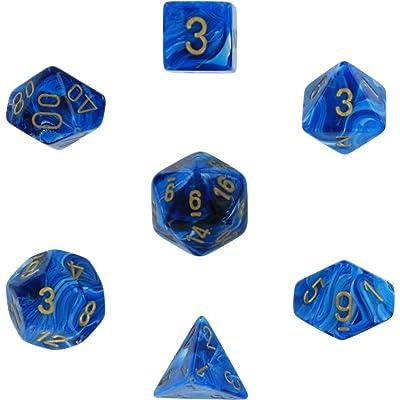 Polyhedral 7-Die Vortex Dice Set - Blue with Gold: Toys & Games
