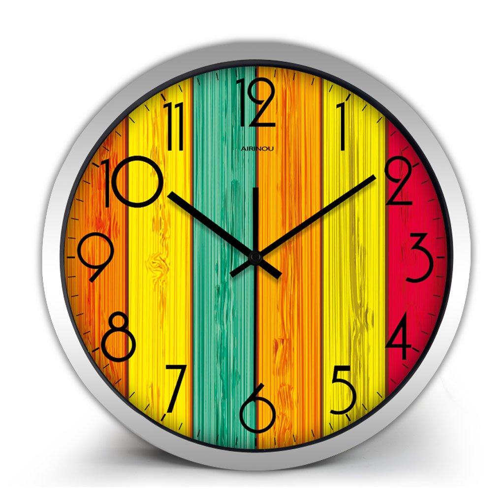 パーソナライズされた腕時計ウォールクロックリビングルームモダンな創造的なミュートベッドルームシンプルなレストランクォーツ時計の懐中時計12インチ14インチ (Color : Silver frame, Size : 14 inches) B07CSMQ1DLSilver frame 14 inches