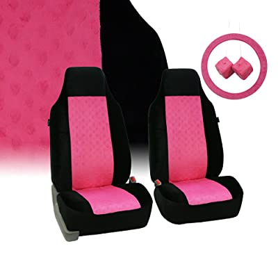 FH Group FB150102 Heart Patterned Velour Accessory Set (Pink) – Universal Fit for Cars Trucks & SUVs: Automotive