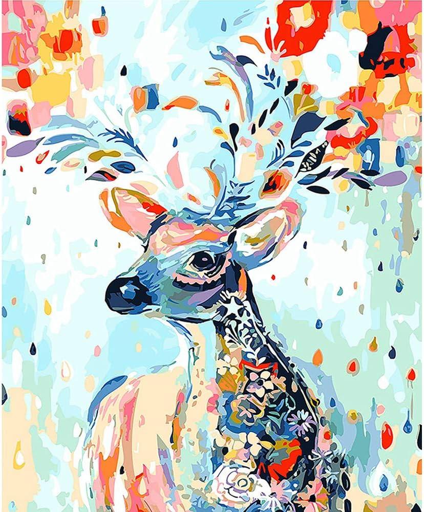 Johiux Pintura por número Kits,Pintura por Números Adultos Niños para DIY Pintura por números con Pinceles y Pinturas Decoraciones para el Hogar con Marco de 40 X 50 cm (Sin Marco) (Venado)