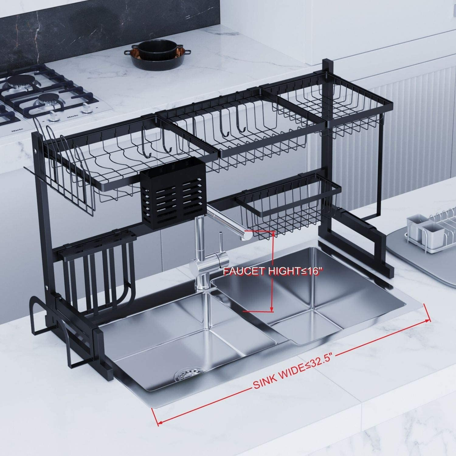 TK191001 TOOLKISS Stainless Steel Over-The-Sink Dish Drying Rack,Drainer Shelf for Kitchen Countertop Organizer Saving Space Dish Rack with Utensil Holder Black