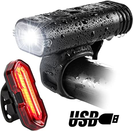 USB Rechargeable Mountain Bike Bicycle LED Head Front Light /& Rear Tail Lamp Set